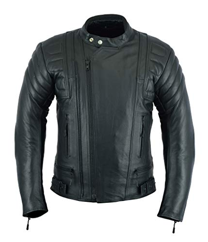 MENS MOTORCYCLE ARMORED MOTOR SPORTS HIGH PROTECTION LEATHER(FULL GRAIN) JACKET BLACK LJ-2020MR (XL)