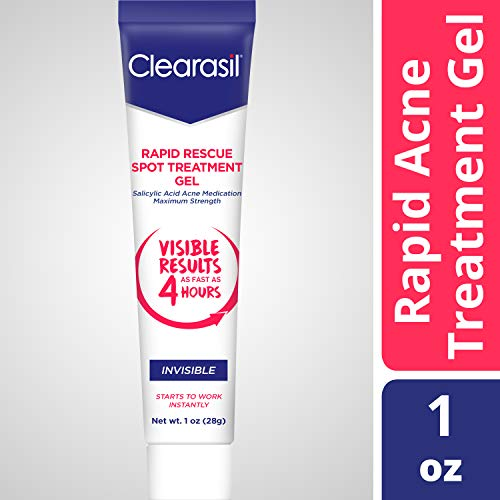 Clearasil Rapid Rescue Spot Treatment Gel, Invisible-Medicated Salicylic Acid Acne Treatment. Begins Working Instantly, Results As Fast As 4 Hours, Keeps Treating Pimples After Use, 1 oz. (Best Drugstore Dark Spot Treatment)