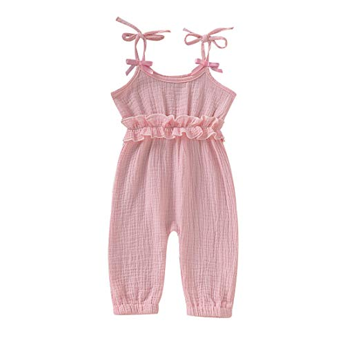 AR-LLOYD Baby Girls Jumpsuit Backless Ruffle Sleeveless Cotton Linen Romper Toddler Outfits Overalls(Pink-B 0-6months