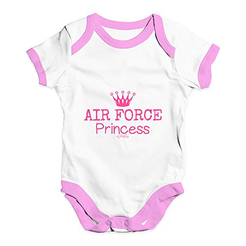 - Cute Infant Bodysuit Air Force Princess Baby Unisex Baby Grow Bodysuit New Born White Pink Trim