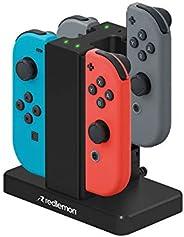 Redlemon Cargador para Controles Joy-con de Nintendo Switch (4 Controles), con Indicadores LED, Rieles con Sup