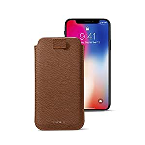 Lucrin - iPhone X Ultra Slim Sleeve with Pull Tab, Protective Soft Case Cover - Tan - Granulated Leather