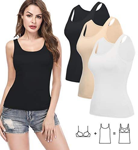 (KIWI RATA Camisoles for Women with Built in Bra, Summer Sleeveless Shirt Casual, Comfortable Padded Bra Women cami for Yoga, Workouts Clothes Tank Top 3 Pack Black White Beige M)