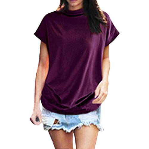 Women's Loose fit high Collar Short Sve Bottong Shirt Blouse Summer Casual Pleated Tunic Tops Tees Purple