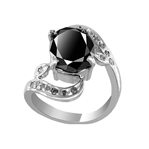 2.40 Ct Black Diamond with Diamond Accents Fancy Designer Ring in Silver Metal by skyjewels
