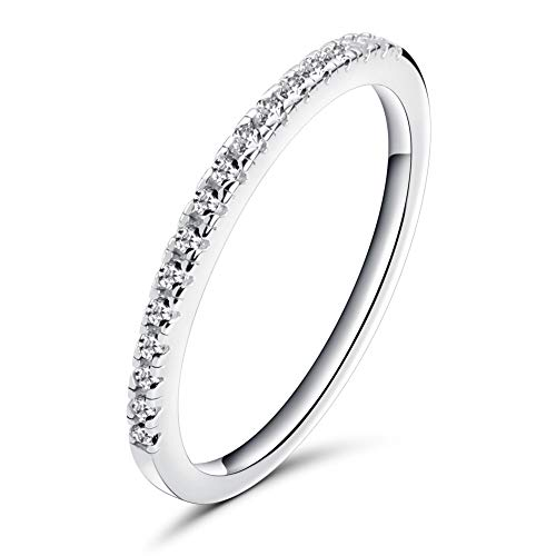 (Rugewelry 1.5mm Women 925 Sterling Silver Anniversary Wedding Band Cubic Zirconia Half Eternity Stackable Engagement Ring Size 5-11)
