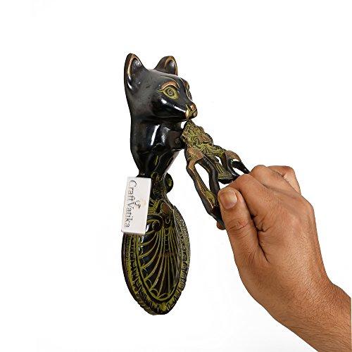 CraftVatika Antique Finish Cat Brass Door Knocker Vintage Style Animal Door Handle Home Decor Door Knob