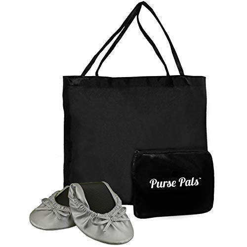 (Solemates Purse Pal Foldable Bowed Ballet Flats w/Expandable Tote Bag for Carrying Heels (X-Large (11-12), Silver))