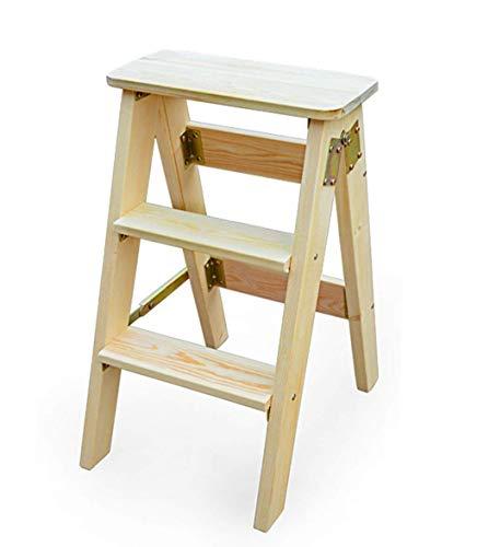 - FSYXY Ladder Stool Household Oak Wood Folding Ladder Anti-Slip Ladder Multi-Function 3-Step Ladder Portable Folding Ladder (Color : Wood Color)