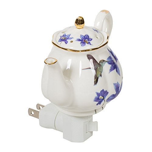 Hummingbird Mini Teapot 4.5 x 4.5 Porcelain Wall Plug-In Night Light