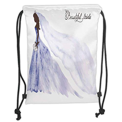 - Custom Printed Drawstring Backpacks Bags,Bridal Shower Decorations,Abstract Beautiful Bride Wedding Dress with Flowers,Purple Blue and White Soft Satin,5 Liter Capacity,Adjustable String Closure,