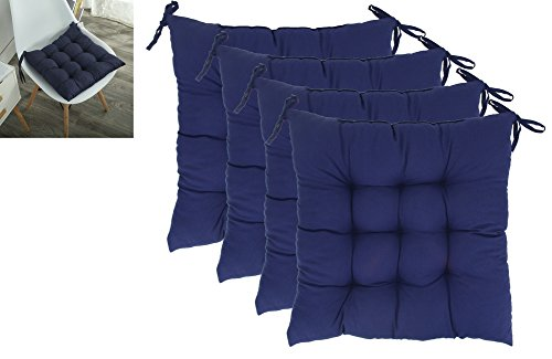 ELFJOY Solid Square Tufted Chair Pads Set of 4 Indoor Cushions Seats with Ties (Navy)