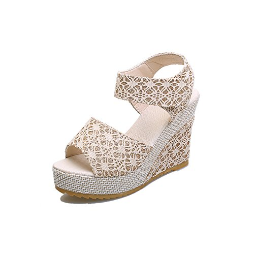 Dony Leisure spring slope heel sandals and thick bottom leisure students Thirty-eight 8aHC4