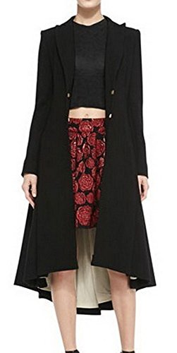 Angel&Lily Women's Wool Black Plus-Sized Long Coat