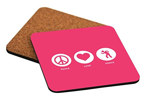 Rikki Knight Peace Love Dance Tropical Pink Color Design Cork Backed Hard Square Beer Coasters, 4-Inch, Brown, 2-Pack by Rikki Knight