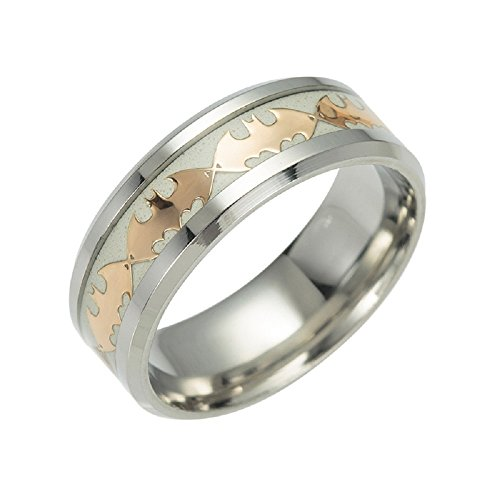 FeixingJewelry Glow in The Dark Gold Batman 316L Titanium Stainless Steel Silver Ring Band (12) ()