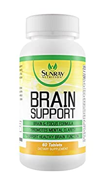 Brain Support Dietary Supplement Boosts Memory Cognitive Function and Mental Clarity with Vitamins Folic Acid and L-Glutamine (60 Tablets)