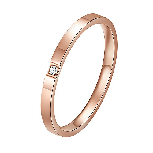 IFUAQZ Women's Stainless Steel 2MM Thin Stackable Midi Eternity Ring Cubic Zirconia Engagement Wedding Bands Rose Gold Size 7 ()