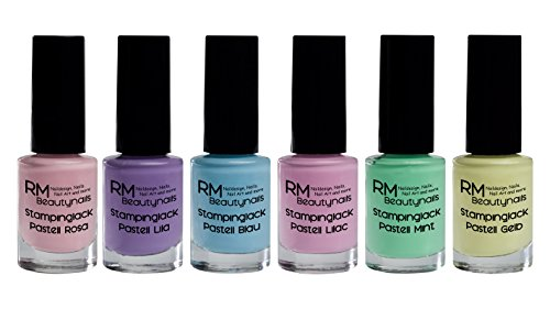 Stampinglack Pastell Set 6x4ml Rosa Lila Blau Lilac Mint Gelb Stamping Lack Nagellack Nail Polish RM Beautynails