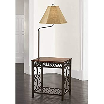 Rustic Floor Lamp With Table Wood Twisted Iron Base Linen