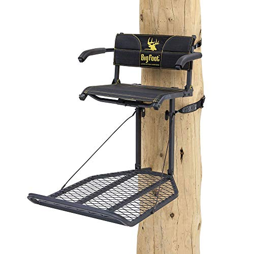 Rivers Edge RE556, Big Foot TearTuff XL Lounger, Lever-Action Hang-On Tree Stand with TearTuff Flip-up Mesh Seat, Oversized 37.5