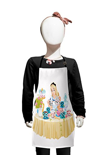 Lunarable Alice in Wonderland Kids Apron, Alice Pours Cup of Tea with Cupcakes Flowers in Wonderland Fantasy, Boys Girls Apron Bib with Adjustable Ties for Cooking Baking and Painting, Pastel Beige -