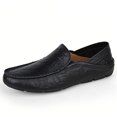Casuales Cuero Planos Mocasines Mocasines Botia Hombres Zapatos Genuino de Mocasines Zapatos Negro para Zapatos RqI4T4nZ