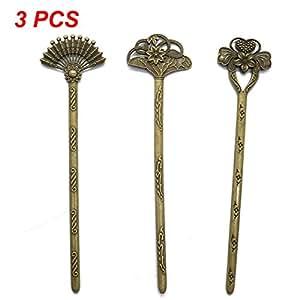 MAISHO 3pcs Antiqued Bronze Color Elegant Metal Bookmarks & Chignon Hair Pins