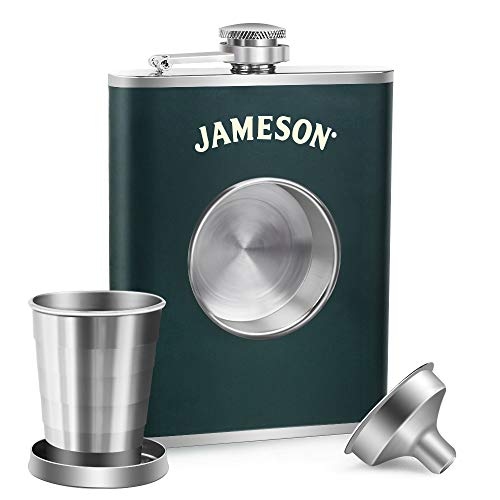 KWANITHINK Shot Flask, Stainless Steel Hip Flask 8 oz with 2 oz Collapsible Shot Glass & Funnel, Ideal Whiskey Flask Gift for Men