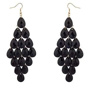 Lux Accessories Dangle Hanging Chandelier Statement Earrings Black