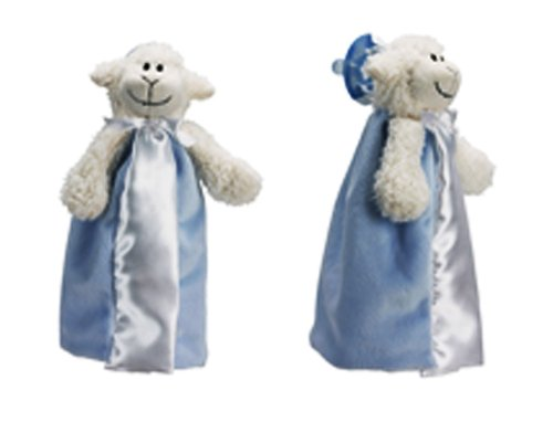 Friendly Pacifier Satin Blanket with Detachable Pacifier, Blue (Lamb Satin Blankets)