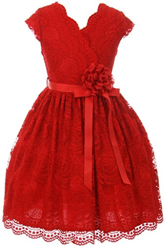 Flower Girl Dress Curly V-Neck Rose Embroidery AllOver for Big Girl Red 14 JKS.2066 -