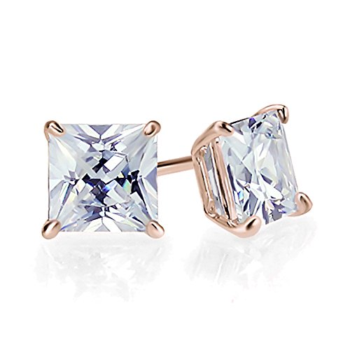 0.1 Carat (ctw) Diamond Solid 14K Rose Gold 2mm Princess Cut Solitaire Diamond Stud Earrings 0.1 Ct Princess Diamond