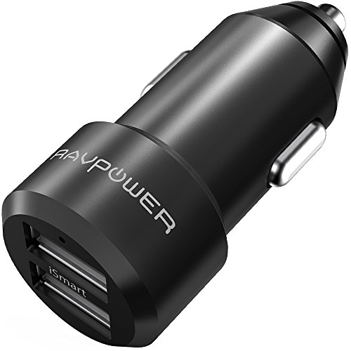 USB Car Charger RAVPower 24W 4.8A Metal Dual Car Adapter with iSmart 2.0 Charging Tech - Black