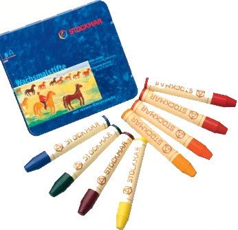 Crayons Stockmar Stick - Stockmar Beeswax Stick Crayons in Storage Tin, Set of 8 Colors, Waldorf Assortment