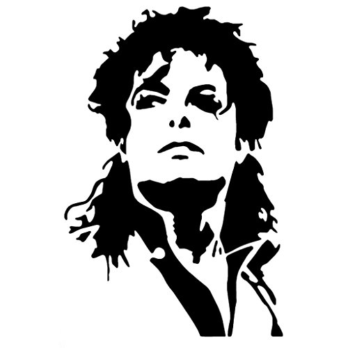 [Michael Jackson Face Vinyl Decal Sticker | Cars Trucks Vans Walls Laptops Cups | Black | 5.5 inches |] (Michael Jackson Billie Jean Costumes For Kids)