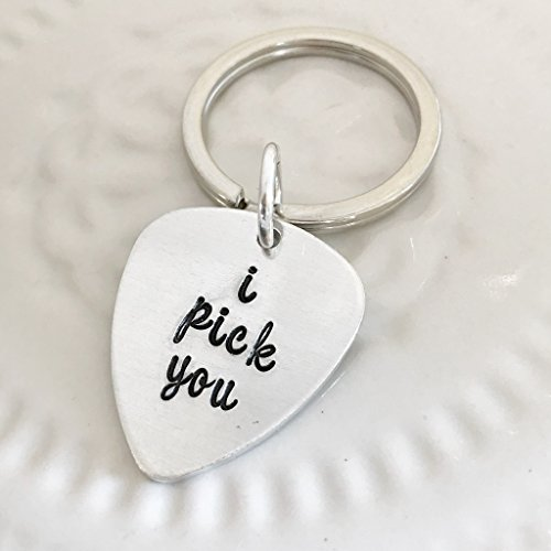 Hand Stamped Guitar Pick (I pick you: guitar pick shaped, hand stamped keychain script)