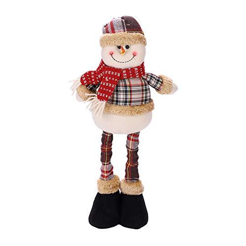 IBLUELOVER Christmas Decorations Figurine Telescopic Length Christmas Ornament Snowman Reindeer Santa Claus Plaid Standing Home Decorations Doll Soft Door Window Table Tree Holiday Xmas Season Decor ()