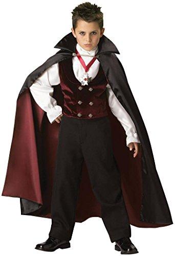 Fun World InCharacter Costumes Boys 2-7 Gothic Vampire Costume, Black/Burgundy, 6 -