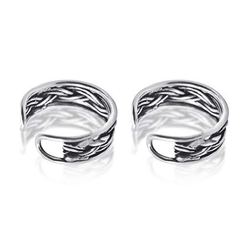 OwMell 925 Sterling Silver Non Pierced Ear Cuff Retro Twist Earrings For Men And Women