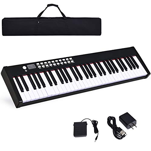 Costzon BX-II 61-Key Portable Touch Sensitive Digital Piano, Electric Keyboard W/MIDI & Bluetooth, Dynamics Adjustment, Power Supply, Sustain Pedal, Portable Carrying Bag, for Kids Adults (Black)