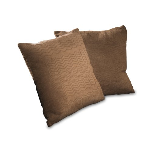 Best Selling 16.5-Inch Brown Jacquard Pillow, Set of 2