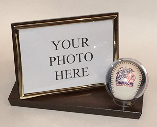 Keepsakes Under Glass Baseball and 4X6 Photo Horizontal Desktop Display Case - Cherry Finish Wood Base and Frame - Free Engraving