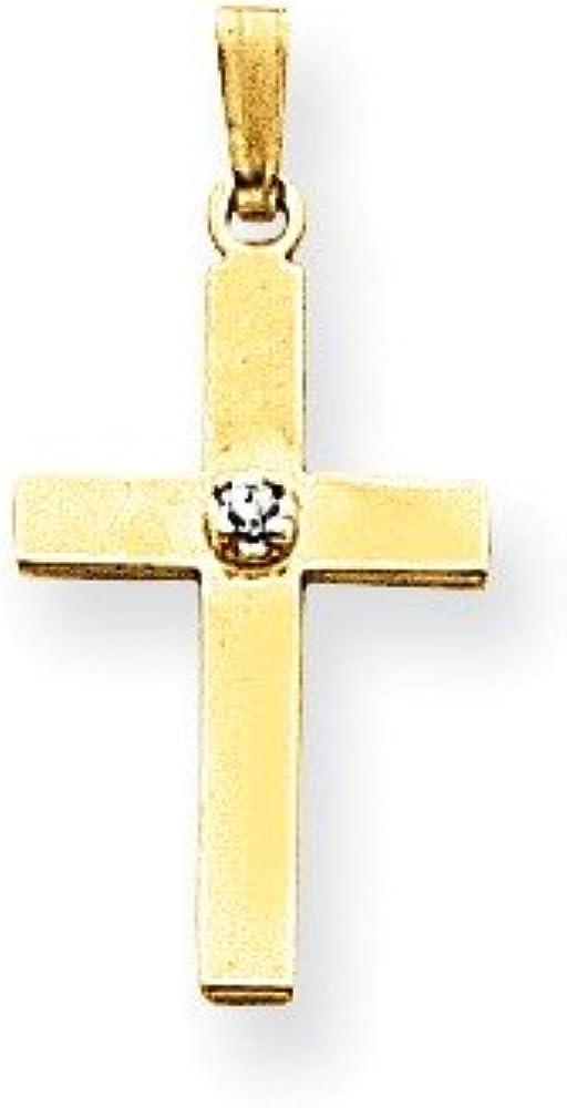 14k Polished .01ct Diamond Cross Pendant