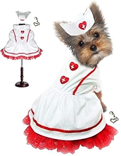 """PampePet Nurse Uniform with Hat Costume - Classic Sweetheart Nurse Includes Nurse's Loving Heart Clip on Charm - for Dog Sizes XS to L (Nurse Costume, M – Chest 16-18.5"""", Neck 12"""", Back 12.5"""")"""