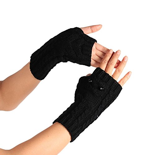 PASATO Winter Solid Wrist Arm Hand Warmer Knitted Long Fingerless Gloves Hole Warm Gloves Mittens for Women(Black,Free Size) ()