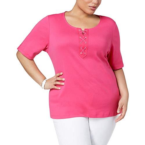 Karen Scott Womens Plus Cotton Lace-Up T-Shirt Pink 1X from Karen Scott