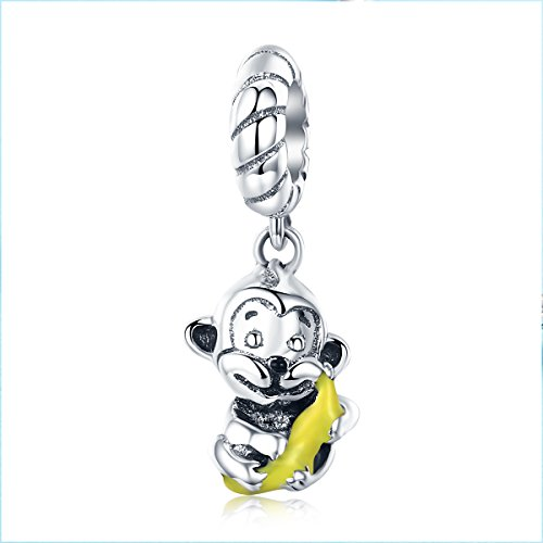 Sterling Silver Monkey Charm - Everbling Cute Monkey & Banana Dangle 925 Sterling Silver Bead for European Charm Bracelet