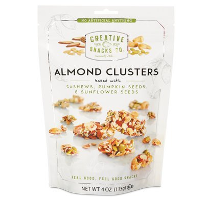 Creative Snacks, Almond Clusters, Cashews & SEEDS w/ Pumpkin Seeds & Sunflower Seeds, 4 oz, Pack of 6 -