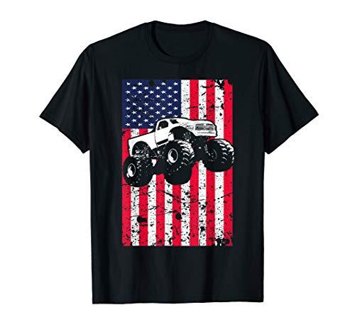 (Monster Truck American Flag Racing USA Patriotic T-Shirt)